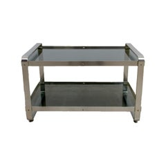 1970s Two Layer Smoke Glass Top Anodized Aluminium Framed Side Table