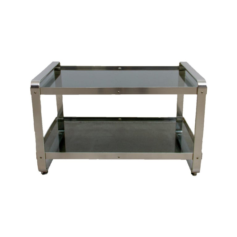 Ijzeren Side Table.1970s Two Layer Smoke Glass Top Anodized Aluminium Framed Side Table