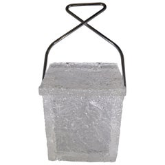 "1970s Unique Lucite ""Block of Ice"" Ice Bucket with Handle"