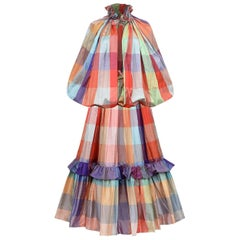 1970s Unknown Couture Colourful Silk Checked Skirt and Cape Ensemble