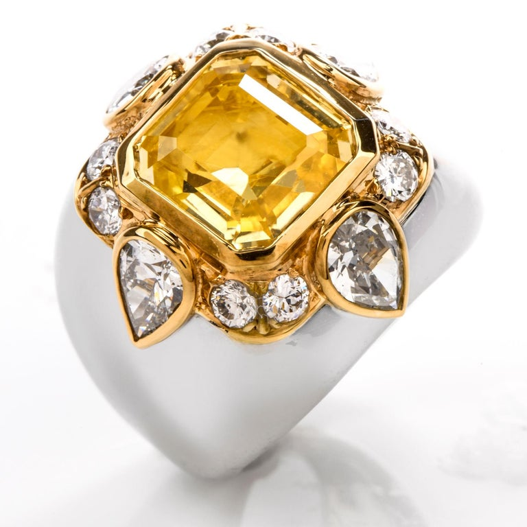 1970s Untreated Natural GIA Certified Ceylon Yellow Sapphire Diamond Gold Ring For Sale 5