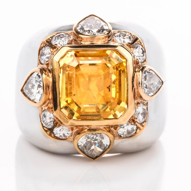 This Pristine condition Diamond and  Yellow Sapphire cocktail Ring was inspired in a Dome motif and crafted in14K white Gold. Adorning the center is a square emerald cut Natural Untreated Yellow Sapphire from Sri Luanka (Ceylon),  measuring 10.57 x