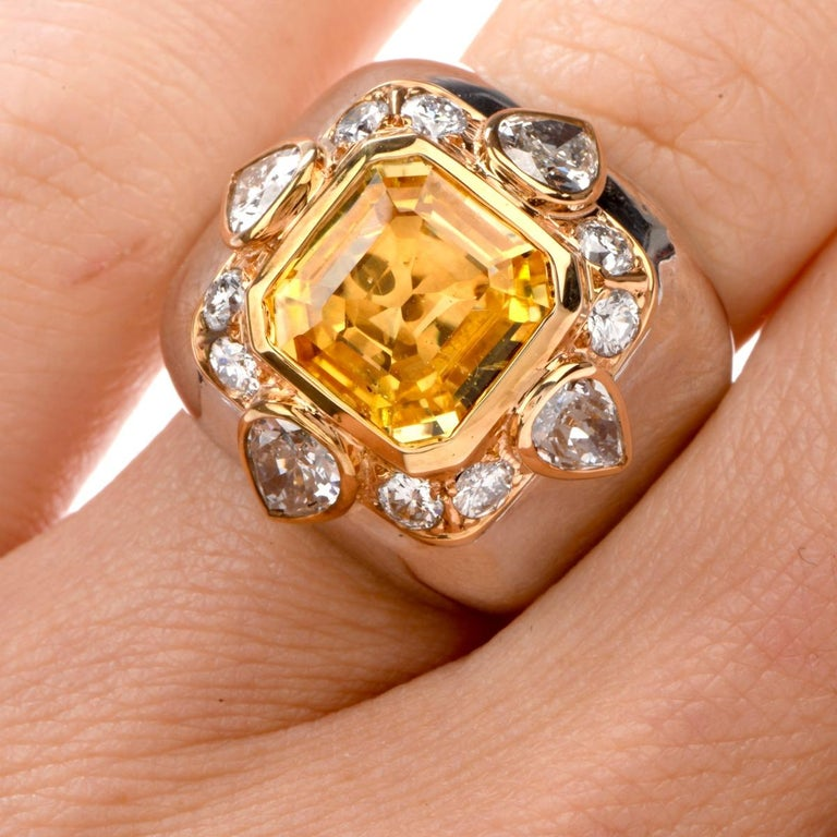 1970s Untreated Natural GIA Certified Ceylon Yellow Sapphire Diamond Gold Ring In Excellent Condition For Sale In Miami, FL