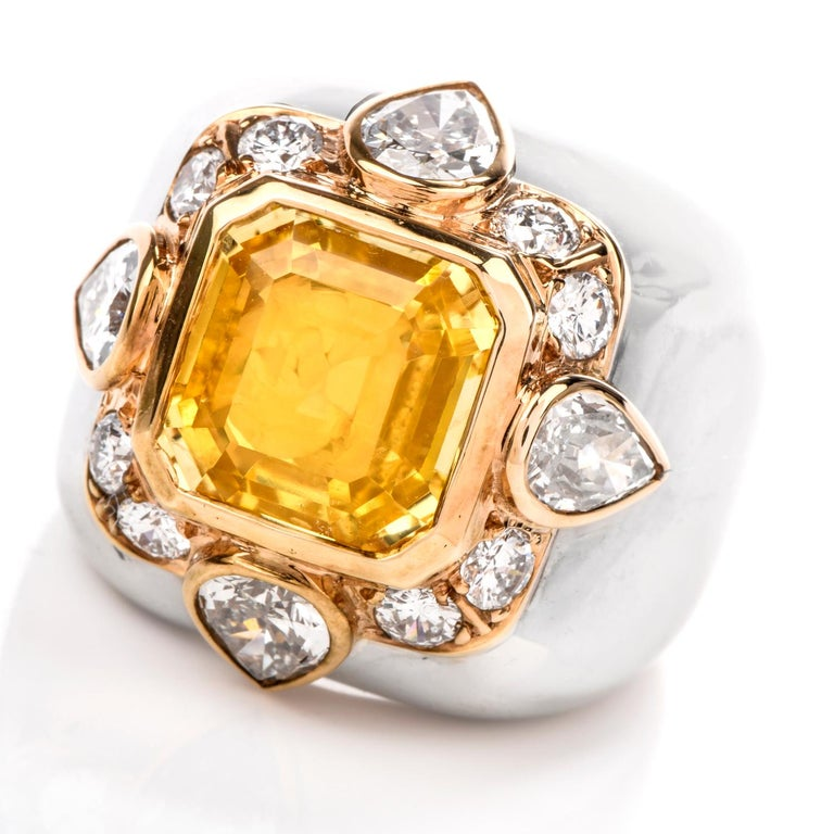 1970s Untreated Natural GIA Certified Ceylon Yellow Sapphire Diamond Gold Ring For Sale 2