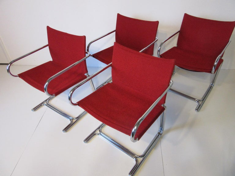 1970s Upholstered Cantilevered Chrome Dining Chairs in the Style of M. Breuer For Sale 4
