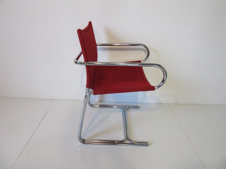 Modern 1970s Upholstered Cantilevered Chrome Dining Chairs in the Style of M. Breuer For Sale