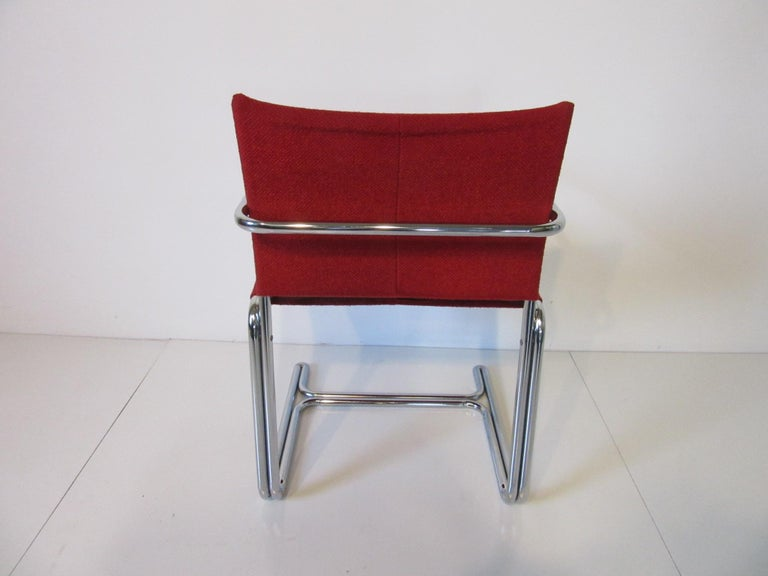 American 1970s Upholstered Cantilevered Chrome Dining Chairs in the Style of M. Breuer For Sale