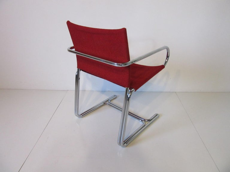 1970s Upholstered Cantilevered Chrome Dining Chairs in the Style of M. Breuer In Good Condition For Sale In Cincinnati, OH