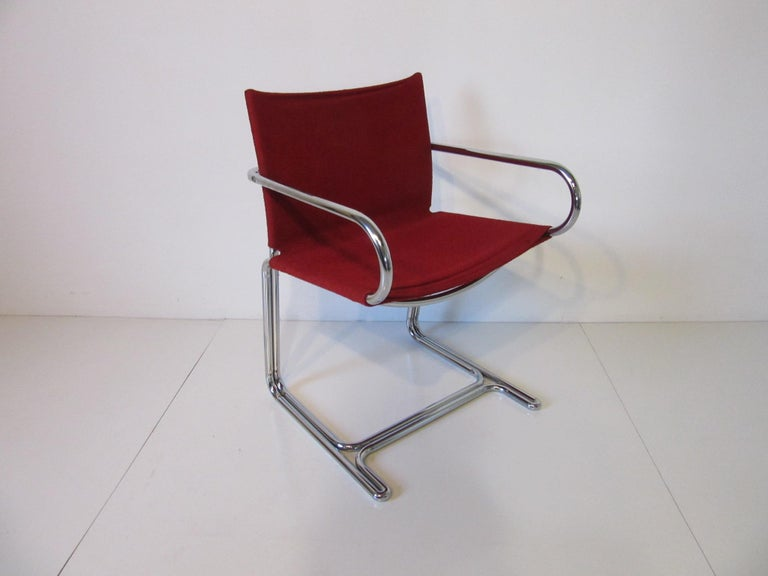 20th Century 1970s Upholstered Cantilevered Chrome Dining Chairs in the Style of M. Breuer For Sale