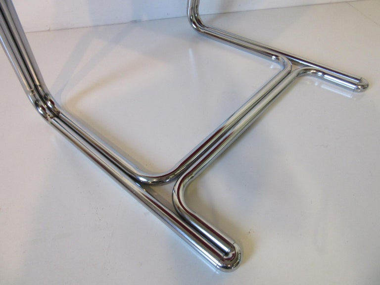 1970s Upholstered Cantilevered Chrome Dining Chairs in the Style of M. Breuer For Sale 1