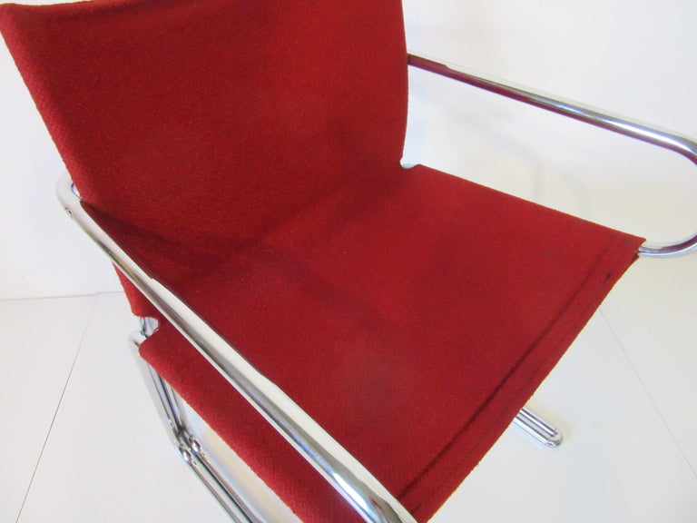 1970s Upholstered Cantilevered Chrome Dining Chairs in the Style of M. Breuer For Sale 2