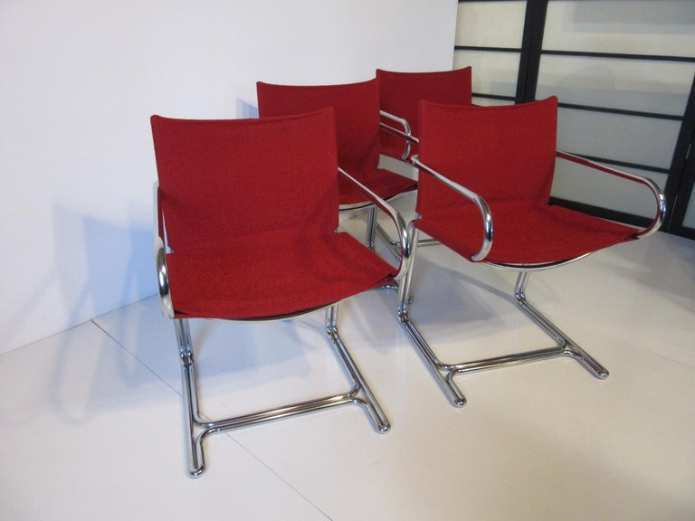 1970s Upholstered Cantilevered Chrome Dining Chairs in the Style of M. Breuer For Sale 3