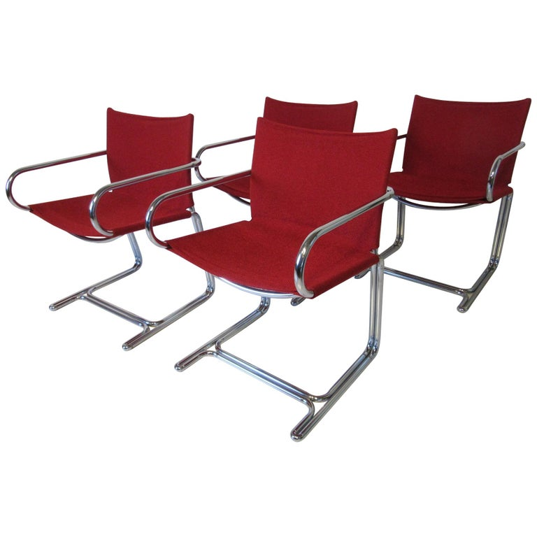 1970s Upholstered Cantilevered Chrome Dining Chairs in the Style of M. Breuer For Sale