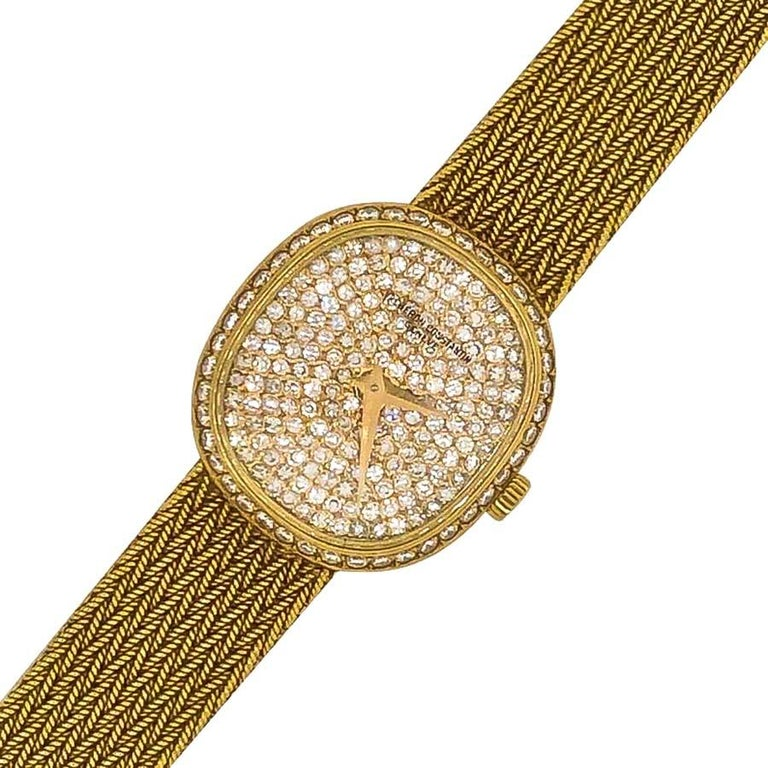 Modern 1970s Vacheron Constantin Ellipse Diamond Pave Set Dial Yellow Gold Wristwatch For Sale