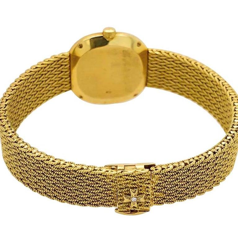 Round Cut 1970s Vacheron Constantin Ellipse Diamond Pave Set Dial Yellow Gold Wristwatch For Sale