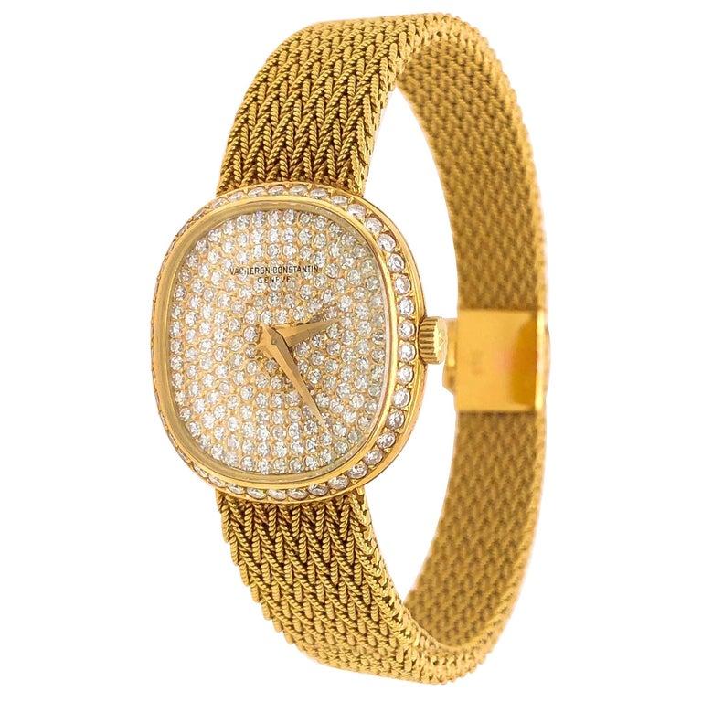 1970s Vacheron Constantin Ellipse Diamond Pave Set Dial Yellow Gold Wristwatch For Sale