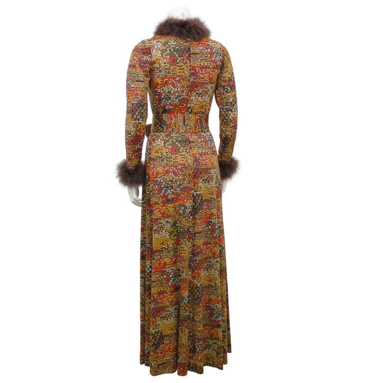 Brown 1970s Valditevere Gown with Marabou Trim For Sale