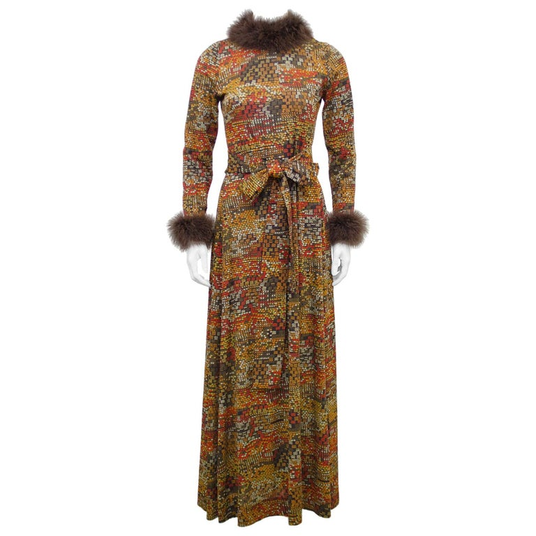 1970s Valditevere Gown with Marabou Trim For Sale