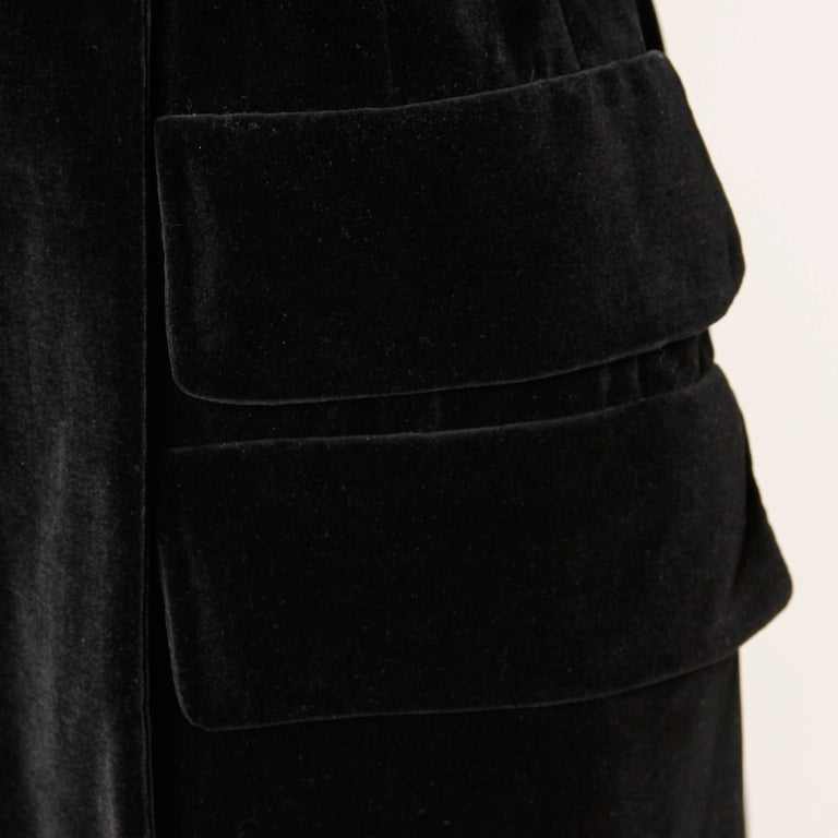 1970s Valentino Vintage Black Velvet Coat/ Jacket For Sale 1