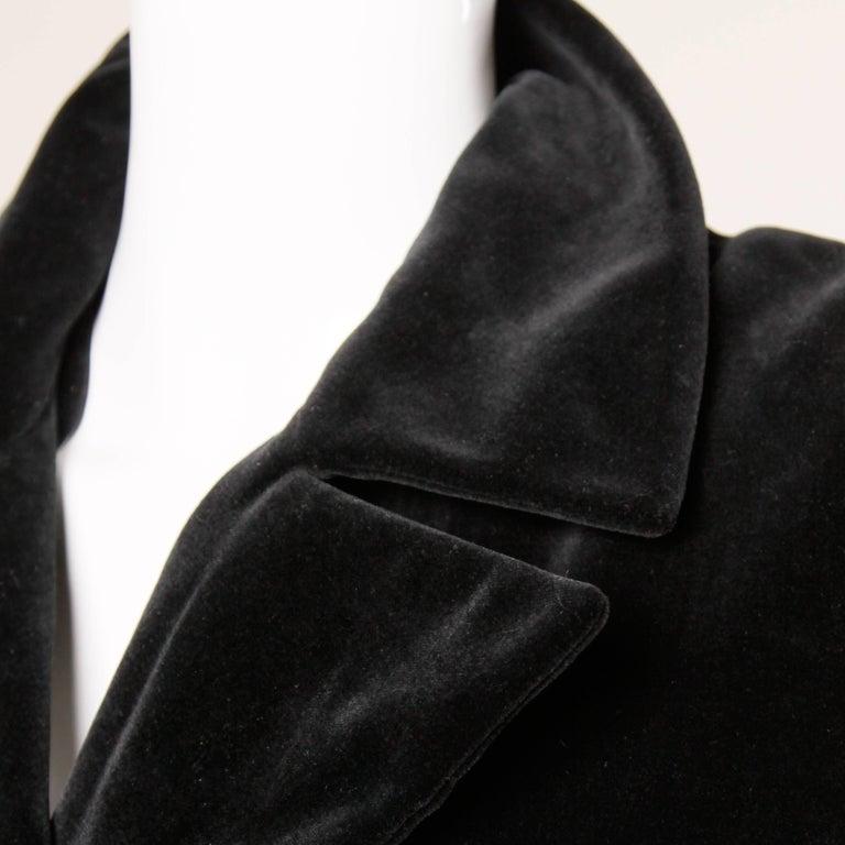 1970s Valentino Vintage Black Velvet Coat/ Jacket For Sale 2