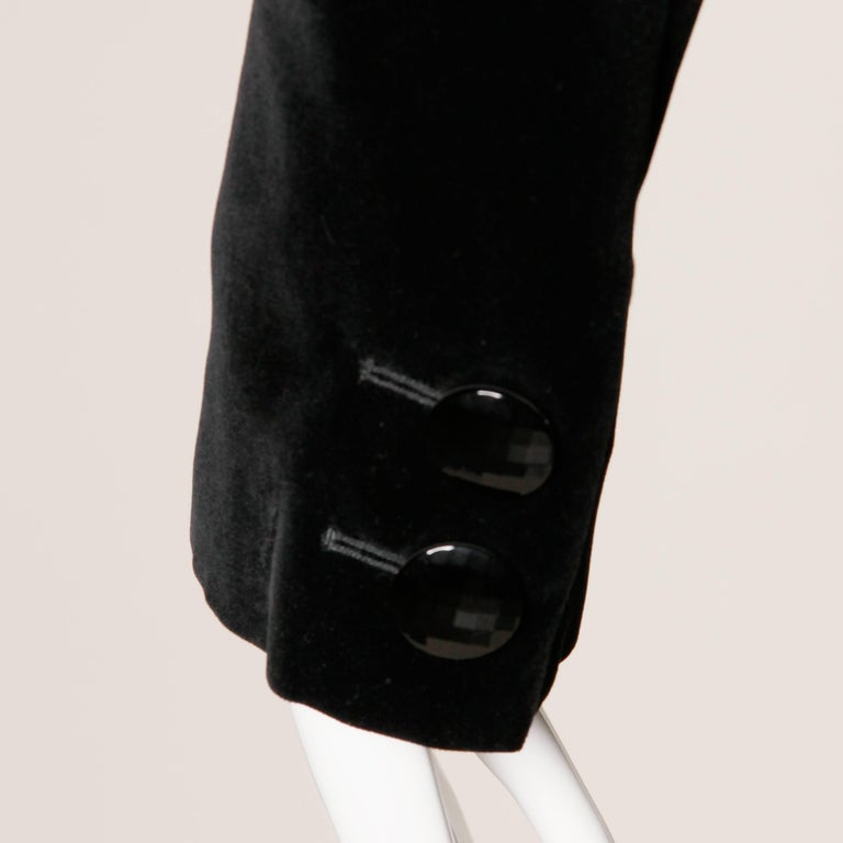 1970s Valentino Vintage Black Velvet Coat/ Jacket For Sale 3