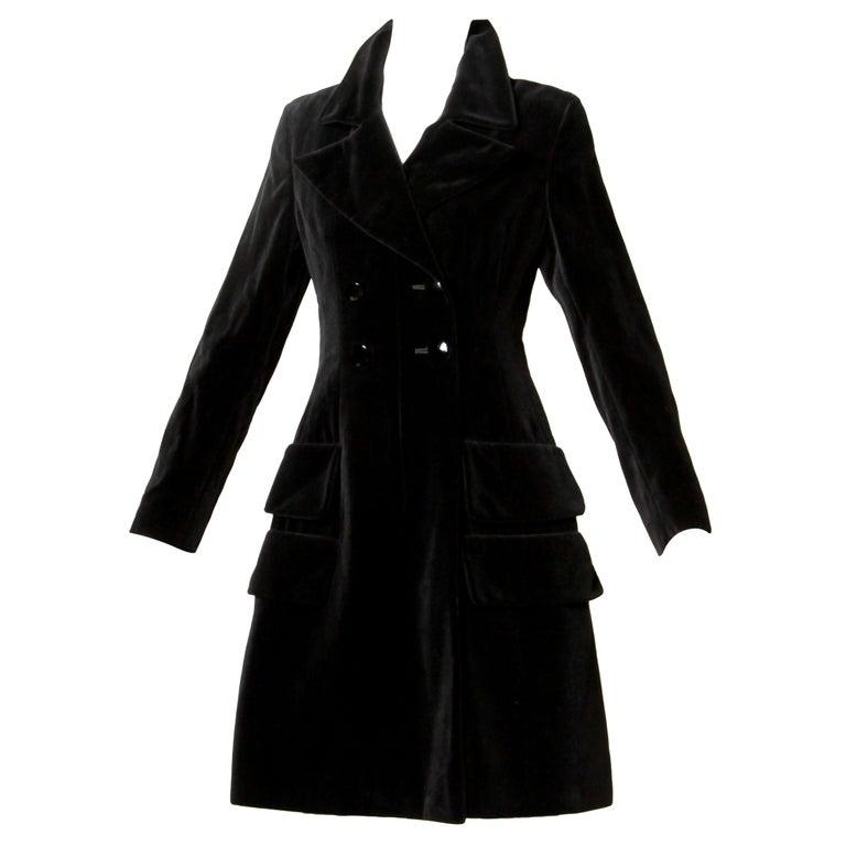 1970s Valentino Vintage Black Velvet Coat/ Jacket For Sale