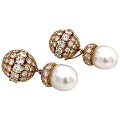 1970s Van Cleef & Arpels 18 Karat Yellow Gold Diamond and Pearl Earrings