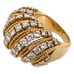 1970s Van Cleef & Arpels 18 Karat Yellow Gold Diamond Ring