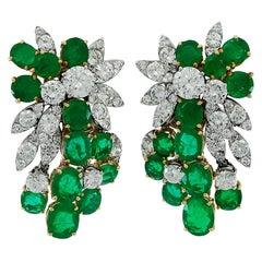 1970s Van Cleef & Arpels Diamond Emerald Cluster Cascade Ear Clips