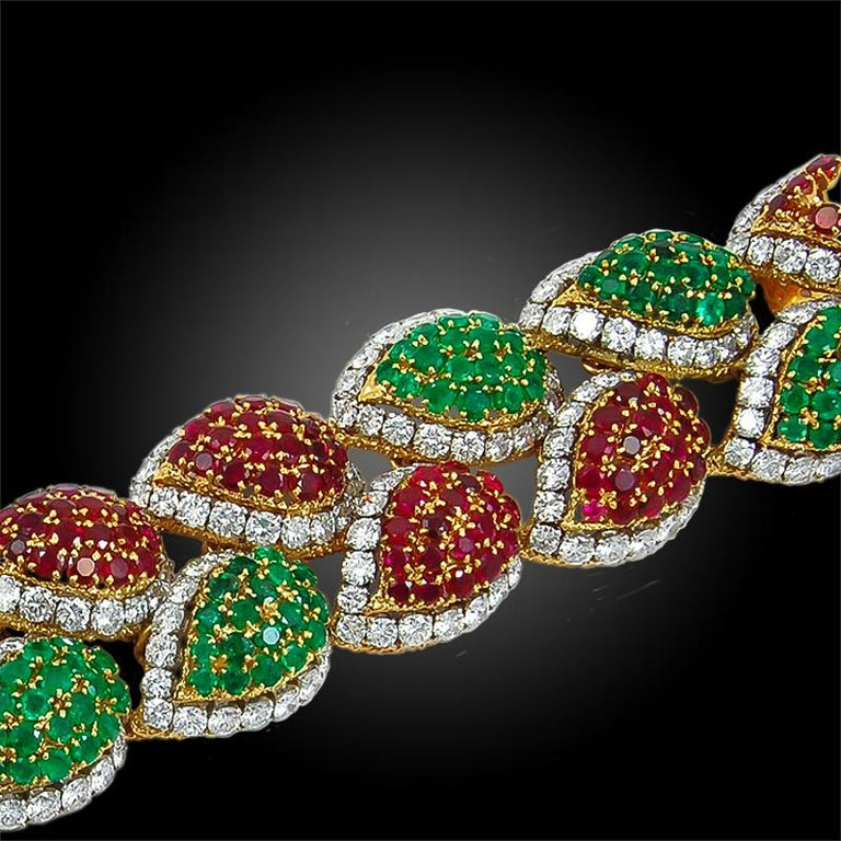 Women's or Men's 1970s Van Cleef & Arpels Diamond, Emerald, Ruby Bracelet For Sale