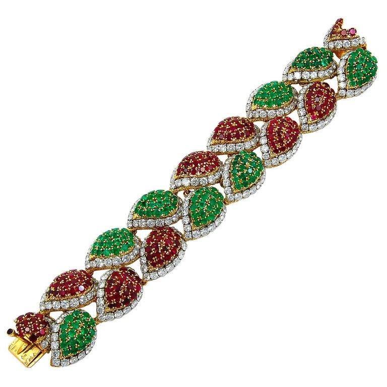 1970s Van Cleef & Arpels Diamond, Emerald, Ruby Bracelet For Sale
