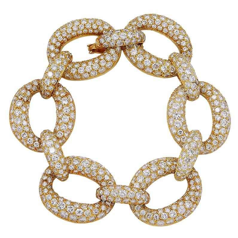 1970s Van Cleef & Arpels Diamond Gold Link Bracelet