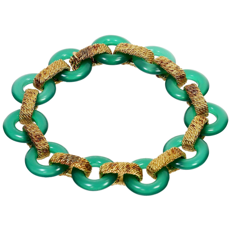 1970s Van Cleef & Arpels Green Chalcedony Yellow Gold Bracelet