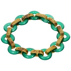 1970s Van Cleef & Arpels Green Chalcedony Yellow Gold Bracelet