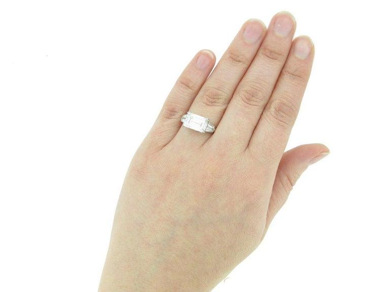 1970s Van Cleef & Arpels Paris Diamond Emerald-Cut Engagement Ring For Sale 1