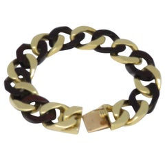1970s Van Cleef & Arpels Yellow Gold Wood Curb Link Bracelet