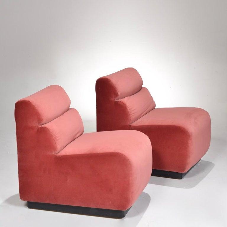 Mid-Century Modern 1970s Velvet Slipper Chairs by August Inc. For Sale