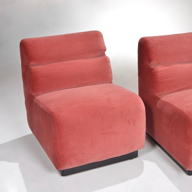 American 1970s Velvet Slipper Chairs by August Inc. For Sale