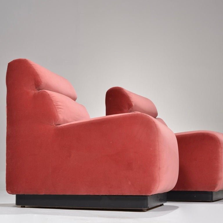 1970s Velvet Slipper Chairs by August Inc. In Excellent Condition For Sale In Los Angeles, CA