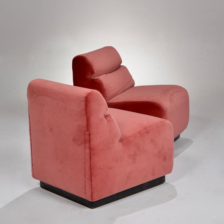 Late 20th Century 1970s Velvet Slipper Chairs by August Inc. For Sale