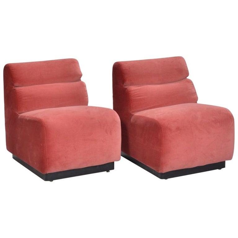1970s Velvet Slipper Chairs by August Inc. For Sale
