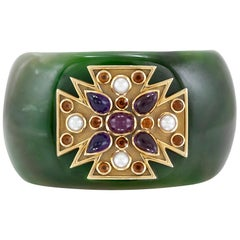 "1970s Verdura Green Jade ""Maltese"" Cuff Bracelet"