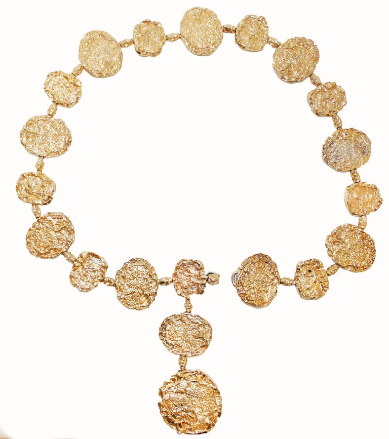 The Cartier Maison has catered to royalty, celebrities and lovers of ultra fine jewelry.  Their pieces circle the globe.  This extraordinary vermeil, gold over sterling silver, belt/necklace is a rare find!  Same Cartier model is known to have been