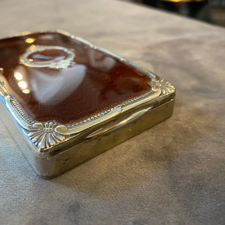 Neoclassical 1970s Vermeil Solid Silver Brown Enameled Italian Cigarette Box by Salimbeni