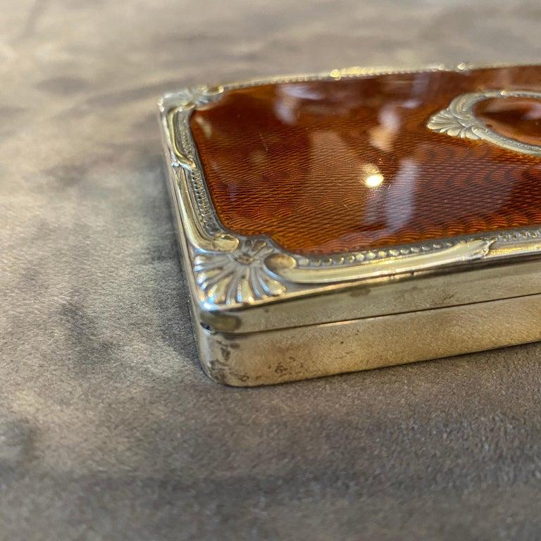 1970s Vermeil Solid Silver Brown Enameled Italian Cigarette Box by Salimbeni 2