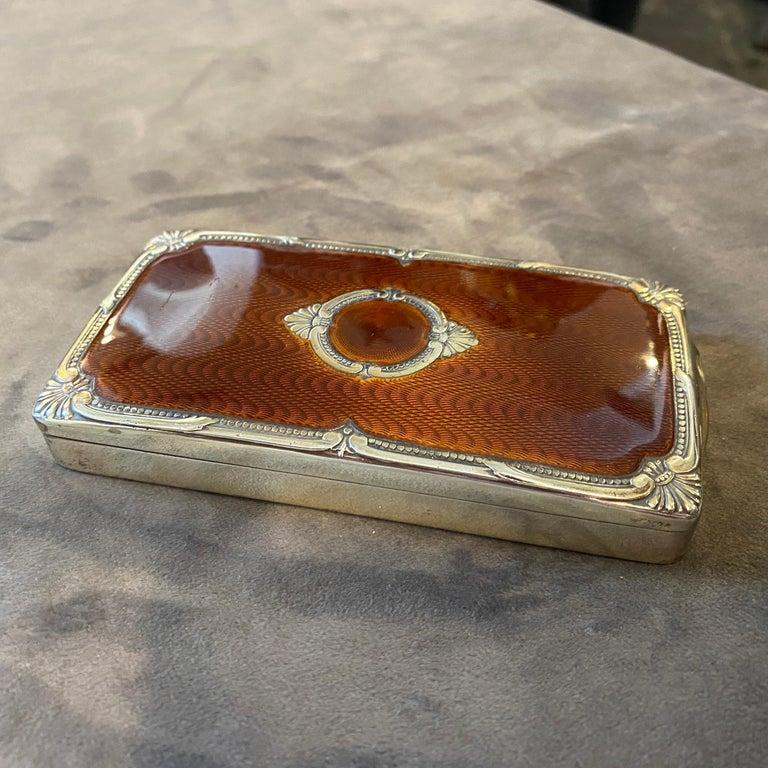 1970s Vermeil Solid Silver Brown Enameled Italian Cigarette Box by Salimbeni 3
