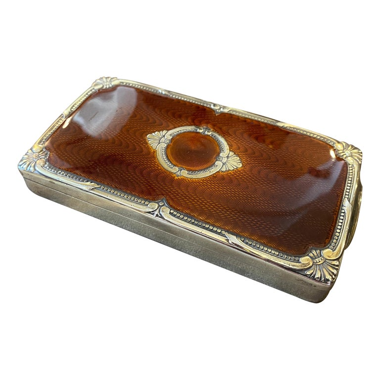 1970s Vermeil Solid Silver Brown Enameled Italian Cigarette Box by Salimbeni
