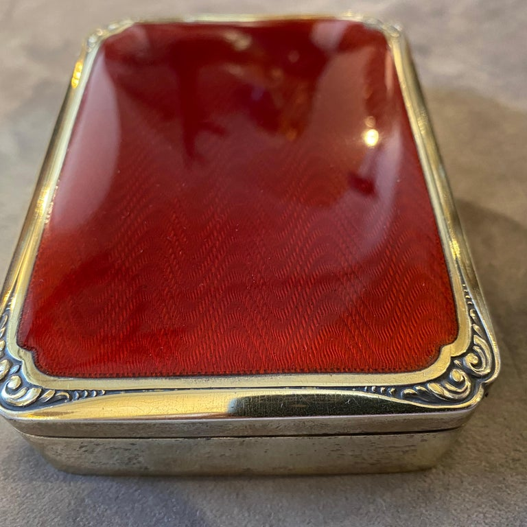 Neoclassical 1970s Red Enameled Vermeil Solid Silver Italian Box by Salimbeni