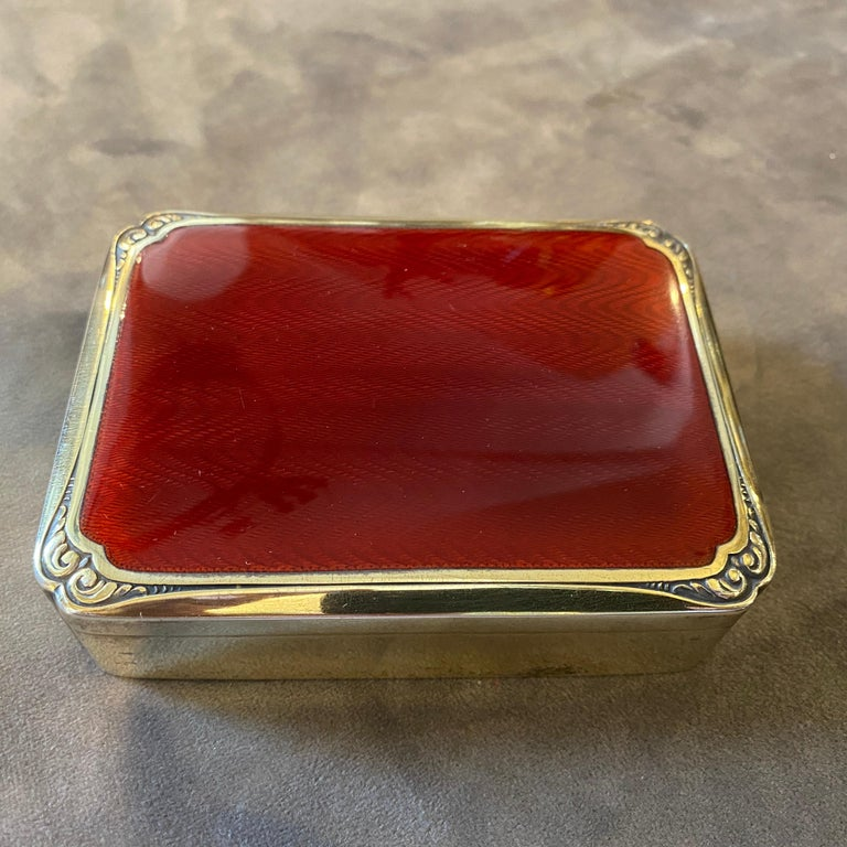 20th Century 1970s Red Enameled Vermeil Solid Silver Italian Box by Salimbeni