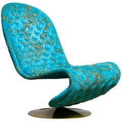 1970s Verner Panton 'System 123' Lounge Chair in Turquoise Burnout Velvet